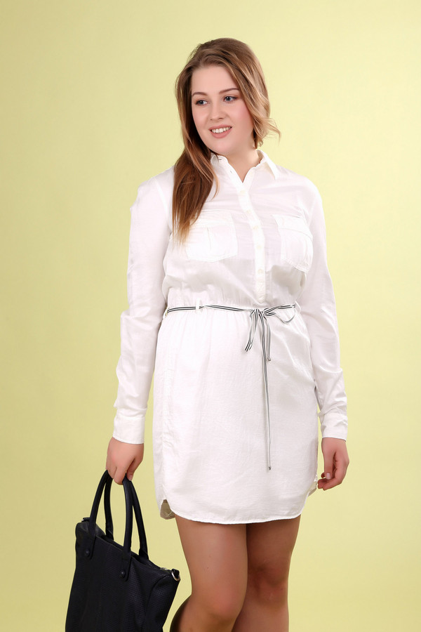 Платье OuiПлатья<br><br><br>Размер RU: 46<br>Пол: Женский<br>Возраст: Взрослый<br>Материал: хлопок 55%, шелк 45%<br>Цвет: Белый
