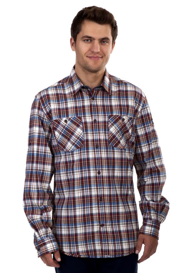 Рубашка с длинным рукавом Tom TailorДлинный рукав<br>Клетчатая рубашка бренда Tom Tailor прямого кроя. Изделие дополнено: отложным воротником, двумя нагрудными карманами на пуговицах и длинными рукавами. Модель застегивается на планку с пуговицами. Манжеты дополнены застежкой-пуговица. Рубашка декорирована принтом в бордово-синюю клетку.<br><br>Размер RU: 43-44<br>Пол: Мужской<br>Возраст: Взрослый<br>Материал: хлопок 100%<br>Цвет: Разноцветный