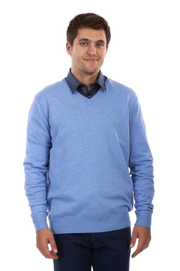 Джемпер Tom TailorДжемперы<br>Однотонный мужской джемпер от бренда Tom Tailor прямого кроя выполнен из трикотажа голубого цвета. Изделие дополнено: v-образным вырезом и длинными рукавами. Ворот, манжеты и нижний кант оформлены вязанной эластичной резинкой.<br><br>Размер RU: 48-50<br>Пол: Мужской<br>Возраст: Взрослый<br>Материал: хлопок 100%<br>Цвет: Голубой