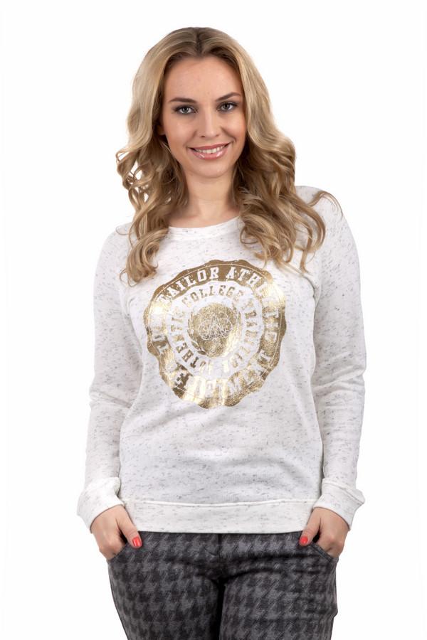 Пуловер Tom TailorПуловеры<br>Светло-серый пуловер бренда Tom Tailor прямого кроя. Изделие дополнено: круглым воротом и длинными рукавами-реглан. Пуловер декорирован принтом золотого цвета.<br><br>Размер RU: 40-42<br>Пол: Женский<br>Возраст: Взрослый<br>Материал: вискоза 1%, хлопок 99%<br>Цвет: Разноцветный