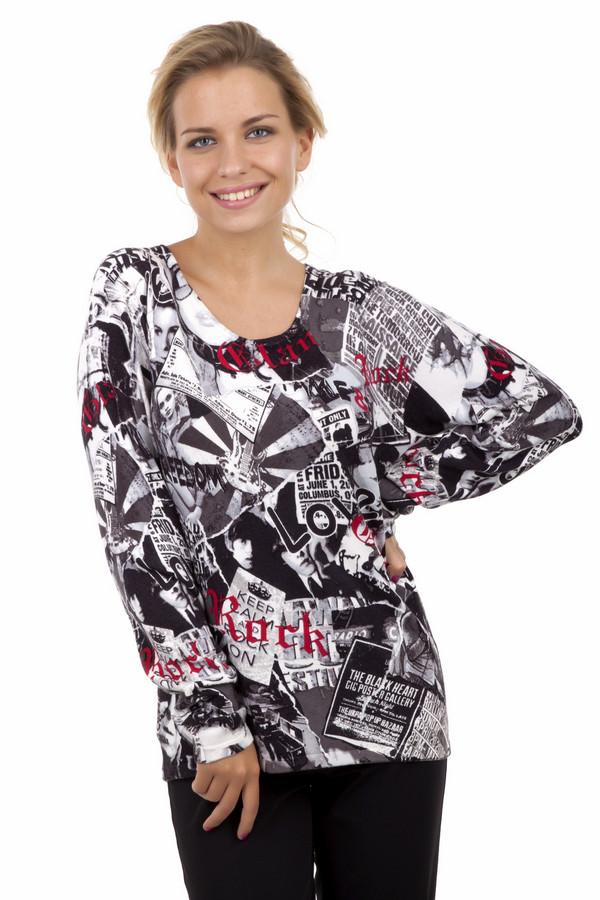 Пуловер Gerry WeberПуловеры<br>Стильный пуловер из вискозы и хлопка с «газетным» принтом в черно-белых цветах с добавлением красного. Длинные рукава, свободный фасон. Пуловер немного удлиненный, и отлично подойдет как под джинсы, так и под лосины. Добавление полиамида позволяет пуловеру растягиваться и отлично садиться на любую фигуру. Овальная горловина, приятная к телу, мягкая натуральная ткань. Прекрасный выбор на каждый день.<br><br>Размер RU: 52<br>Пол: Женский<br>Возраст: Взрослый<br>Материал: хлопок 30%, полиамид 25%, вискоза 45%<br>Цвет: Разноцветный