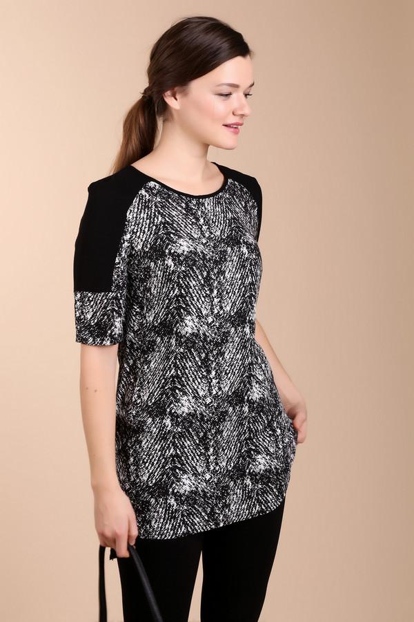 Блузa TaifunБлузы<br>Блуза фирмы Taifun . Модель выполнена прямым фасоном. Длина блузки прикрывает бедра. Изделие дополнено округлым воротом и коротким до локтя рукавом. На блузки имеются черные вставки, расположенные на плечевом отделе. На заднем полотне находится застежка молния и сетчатая кокетка. Основное полотно блузки имеет разноцветный принт. Блузка прекрасно будит дополнять узкие брюки или леггинсы.