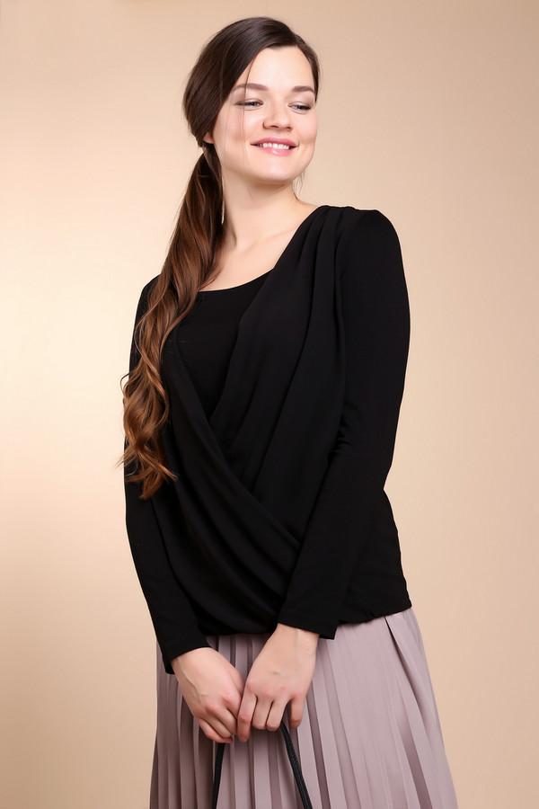Блузa TaifunБлузы<br>Блуза черного цвета фирмы Taifun . Модель имеет оригинальный покрой. Передняя часть блузки выполнена с запахом на угол, глубокий вырез закрывает вставка из такой же ткани. Сборки от плеча до низа создают привлекательность и делают блузку неповторимой. Рукава прямые , длинные. Задняя часть блузки повторяет силуэт вашей фигуры. Длина изделия до бедер.