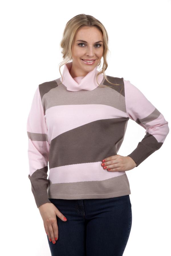 Пуловер Rabe collectionПуловеры<br>Пуловер от бренда Rabe collection выполнен в розово-коричневой гамме. Пошит из смеси модала, полиакрила и полиамида. Изделие дополнено: высоким воротником-стойка и длинными рукавами. Пуловер украшен непропорциональными полосками розового, коричневого и бежевого цветов. Идеально подойдет для повседневного использования.<br><br>Размер RU: 54<br>Пол: Женский<br>Возраст: Взрослый<br>Материал: полиамид 15%, полиакрил 40%, модал 45%<br>Цвет: Разноцветный