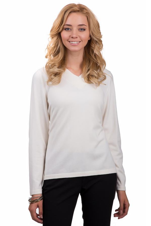 Пуловер Rabe collectionПуловеры<br>Модный пуловер для женщин от бренда Rabe collection. Данный пуловер представлен в белом цвете и сделан из материала в составе которого смесь модала, полиакрила и полиамида. Изделие сшито по свободному покрою и дополнено V-образным вырезом с широкой резинкой, длинным рукавом, а также небольшими пуговицами белого цвета.<br><br>Размер RU: 48<br>Пол: Женский<br>Возраст: Взрослый<br>Материал: полиамид 15%, полиакрил 40%, модал 45%<br>Цвет: Белый