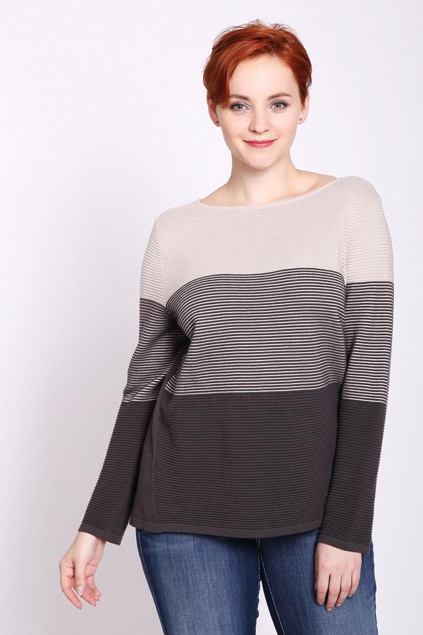 Пуловер Betty BarclayПуловеры<br>Пуловер разноцветный фирмы Betty Barclay. Ткань состоит из 50% полиакрила и 50% хлопка. Модель выполнена прямым покроем. Пуловер дополнен овальным воротом, втачным, длинным рукавом. Пуловер изготовлен из полосатого материала и поэтому можно гармонировать с брюками разных цветов.