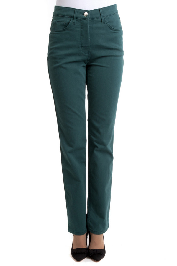 Классические джинсы PezzoКлассические джинсы<br>Зеленые однотонные женские джинсы Pezzo с оригинальной вышивкой на задних накладных карманах. Модель дополнена пятью стандартными карманами и шлевками для ремня. Изделие застегивается на молнию и фиксируется на пуговицу.<br><br>Размер RU: 42<br>Пол: Женский<br>Возраст: Взрослый<br>Материал: эластан 1%, хлопок 58%, полиэстер 27%, вискоза 14%<br>Цвет: Зелёный