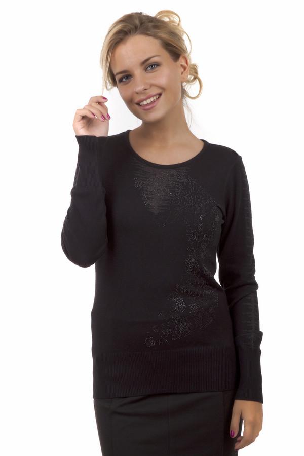 Пуловер Betty BarclayПуловеры<br>Женственный черный пуловер Betty Barclay прилегающего кроя. Изделие дополнено: круглым вырезом и длинными рукавами. Манжеты и нижний кант оформлены эластичной трикотажной резинкой. Зона декольте декорирована вязанным рисунком с добавлением люрекса и стразами.<br><br>Размер RU: 46<br>Пол: Женский<br>Возраст: Взрослый<br>Материал: эластан 5%, вискоза 95%<br>Цвет: Чёрный
