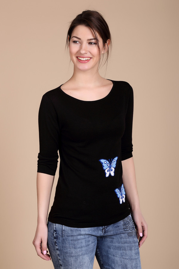 Пуловер PezzoПуловеры<br><br><br>Размер RU: 46<br>Пол: Женский<br>Возраст: Взрослый<br>Материал: хлопок 60%, вискоза 40%<br>Цвет: Чёрный