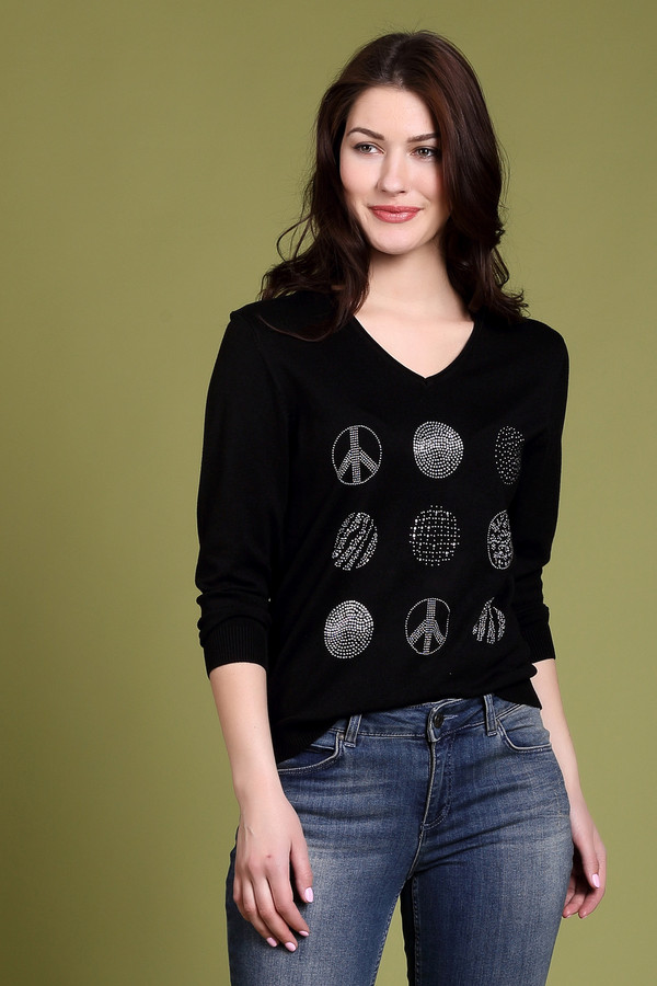Пуловер PezzoПуловеры<br><br><br>Размер RU: 50<br>Пол: Женский<br>Возраст: Взрослый<br>Материал: полиамид 19%, вискоза 81%<br>Цвет: Чёрный