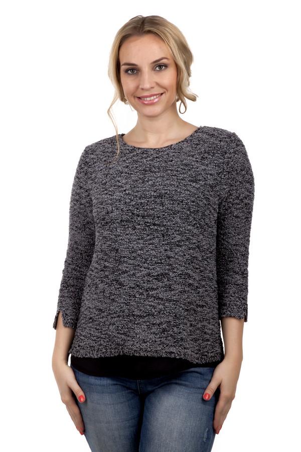 Пуловер Via AppiaПуловеры<br>Пуловер Via Appia крупной вязки полиэстра и хлопка. Серый цвет придает одежде строгий и официальный вид. На рукавах, формата 3\4 удобные разрезы. Они необходимы для повышения комфорта. В нижней части пуловера имеется вставка из черной ткани, которая идет по всему низу пуловера. Данная одежда универсальна, она будет хорошо выглядеть, как с  джинсами , так и обычными, черными  брюками .<br><br>Размер RU: 48<br>Пол: Женский<br>Возраст: Взрослый<br>Материал: хлопок 30%, полиамид 30%, полиэстер 40%<br>Цвет: Чёрный