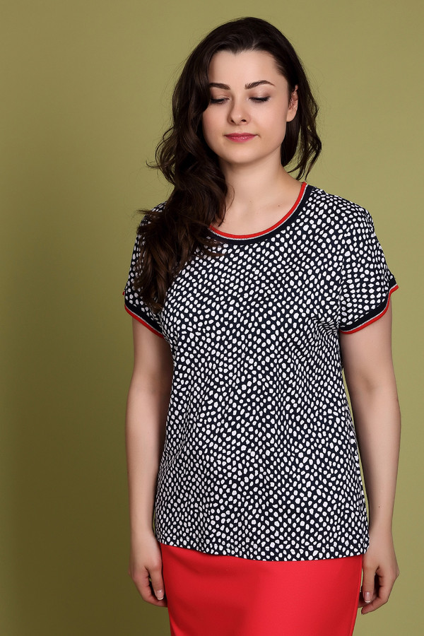 Блузa ErfoБлузы<br>Блуза синего цвета фирмы Erfo. Ткань состоит из 5% эластана и 95% вискозы. Модель выполнена прямым фасоном. Изделие дополнено округлым воротом, коротким, втачным рукавом, все детали обшиты полосатой тесьмой. Ткань синего цвета дополняет белый горох. Блуза прекрасно гармонирует с брюками и с юбками одного тона.<br><br>Размер RU: 50<br>Пол: Женский<br>Возраст: Взрослый<br>Материал: эластан 5%, вискоза 95%<br>Цвет: Разноцветный