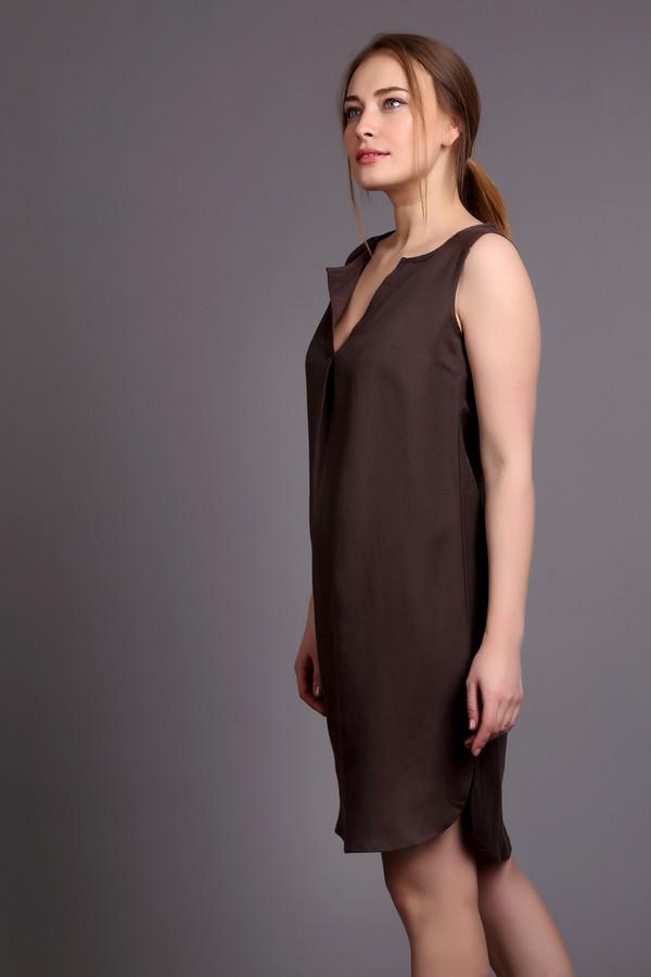 Купить Платье Pezzo, Китай, Коричневый, вискоза 45%, лен 55%