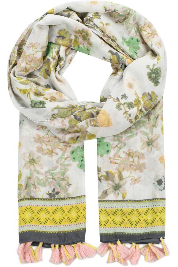 Шарф FINN FLAREШарфы<br>Этот шарф – отличный аксессуар для украшения однотонной демисезонной одежды. Выполненная в гармоничных между собой цветах, эта деталь гардероба придется по вкусу ценителям изысканных принтов. Шарф выполнен из полиэстера, известного своими влагоотводящими качествами.<br><br>Размер RU: один размер<br>Пол: Женский<br>Возраст: Взрослый<br>Материал: полиэстер 100%<br>Цвет: Разноцветный