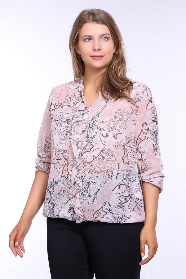 Блузa Betty BarclayБлузы<br>Блуза розового цвета фирмы Betty Barclay. Ткань состоит из 100% полиэстера. Модель выполнена прямым покроем. Блуза дополнена округлым воротом с V - образным вырезом, длинным, втачным рукавом, рюшью, задней кокеткой. Изделие имеет разноцветный принт. Блуза в сочетании с брюками создаст трендовый комплект для разных мероприятий.