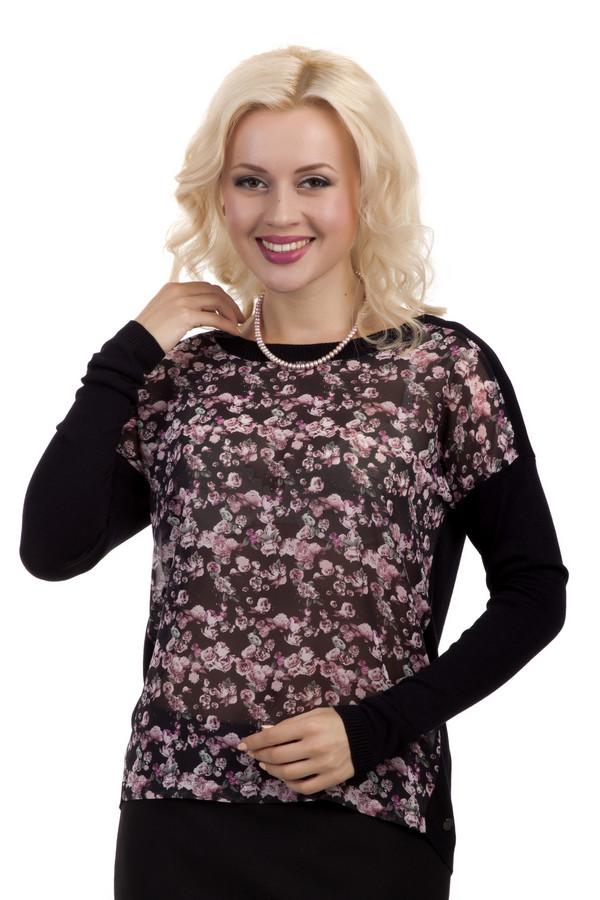 Блузa QSБлузы<br>Блузa QS прямого кроя выполнена в черном цвете. Изделие дополнено: вырезом-лодочка и длинными рукавами с заниженной линией плеча. Передняя часть блузы выполнена из полу-прозрачной ткани украшенной цветочным узором.Одежда изготовлена из 100% вискозы без посторонних добавок. В сочетании с классической  юбкой  или  брюками  создает идеальный официально-деловой стиль.<br><br>Размер RU: 46-48<br>Пол: Женский<br>Возраст: Взрослый<br>Материал: вискоза 100%<br>Цвет: Разноцветный