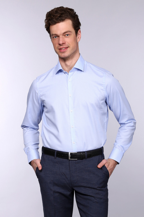 Рубашка с длинным рукавом VentiДлинный рукав<br><br><br>Размер RU: 44<br>Пол: Мужской<br>Возраст: Взрослый<br>Материал: хлопок 100%<br>Цвет: Голубой