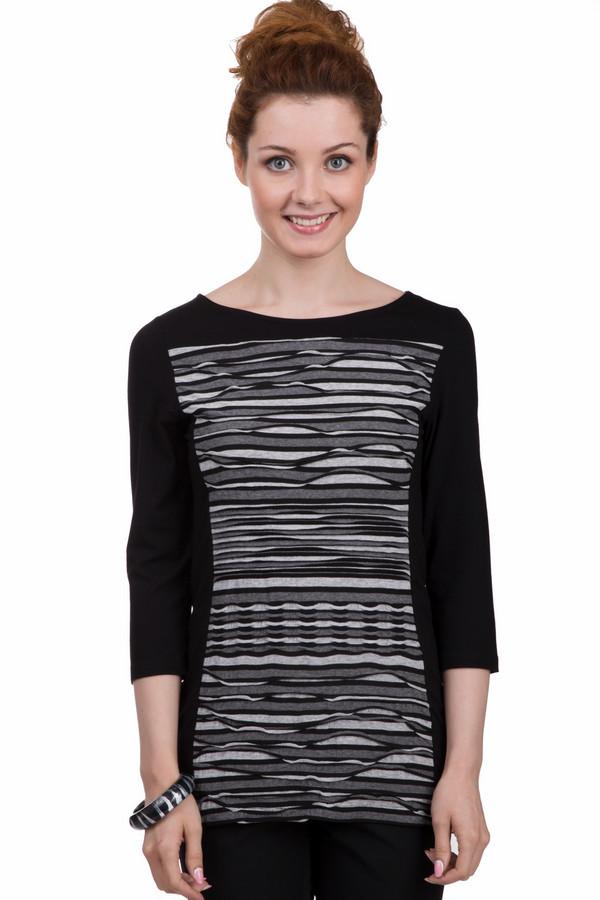 Блузa MonariБлузы<br>Удлиненная блуза от бренда Monari черного цвета, украшена вставкой из вязаных рюшей с узором в черно-серую полоску. Изделие дополнено: вырезом-лодочка и рукавами 3/4. Складки на передней части блузы придают необычную фактуру. Блуза подчеркивает фигуру и визуально стройнит.<br><br>Размер RU: 42<br>Пол: Женский<br>Возраст: Взрослый<br>Материал: полиамид 44%, вискоза 56%<br>Цвет: Серый