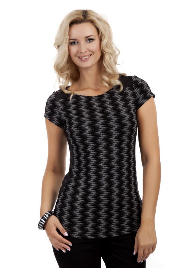 Блузa MonariБлузы<br>Блузa от бренда Monari выполнена в черно-серой гамме. Изделие дополнено: вырезом-лодочка и короткими рукавами. Блуза декорирована красивым геометрическим узором. Бока и предплечья оформлены однотонными черными вставками из перфорированной ткани.<br><br>Размер RU: 44<br>Пол: Женский<br>Возраст: Взрослый<br>Материал: эластан 4%, вискоза 96%<br>Цвет: Разноцветный