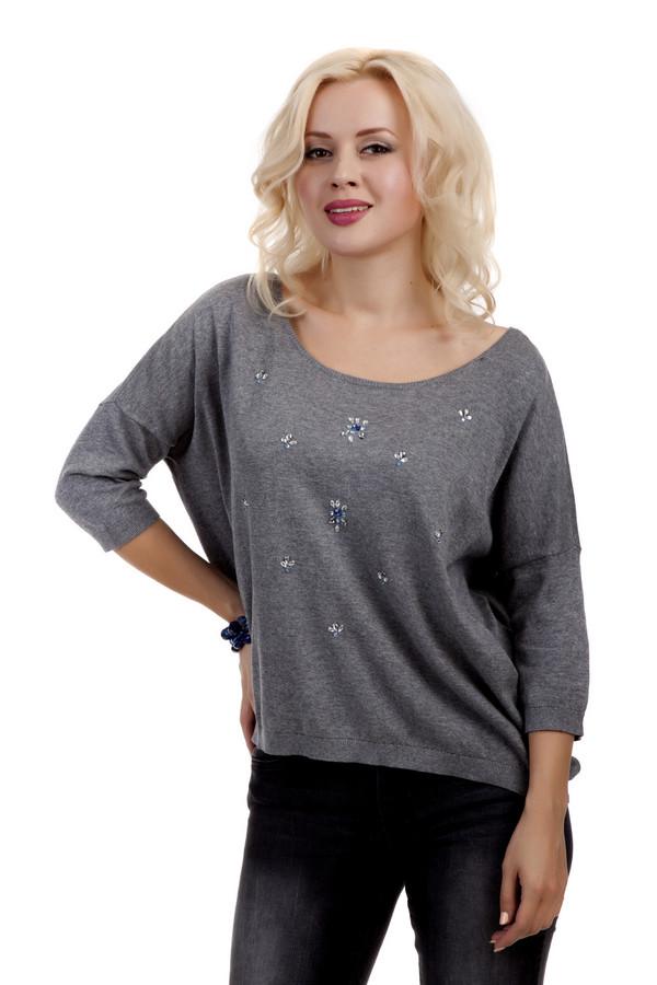 Пуловер Tom TailorПуловеры<br>Серый пуловер бренда Tom Tailor свободного кроя выполнен из натурального хлопкового материала. Изделие дополнено: глубоким вырезом-лодочка, рукавами три четверти и удлиненной спинкой. Пуловер декорирован стразами.<br><br>Размер RU: 44-46<br>Пол: Женский<br>Возраст: Взрослый<br>Материал: хлопок 100%<br>Цвет: Серый