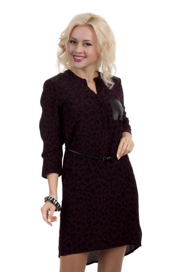 Платье Tom TailorПлатья<br>Бордовое платье с леопардовым принтом Tom Tailor прямого кроя. Изделие дополнено: круглым вырезом с планкой, накладным нагрудным карманом из искусственной кожи и укороченными рукавами. Элегантный тонкий ремешок с металлической пряжкой подчеркнет линию талии.<br><br>Размер RU: 42<br>Пол: Женский<br>Возраст: Взрослый<br>Материал: вискоза 100%<br>Цвет: Бордовый