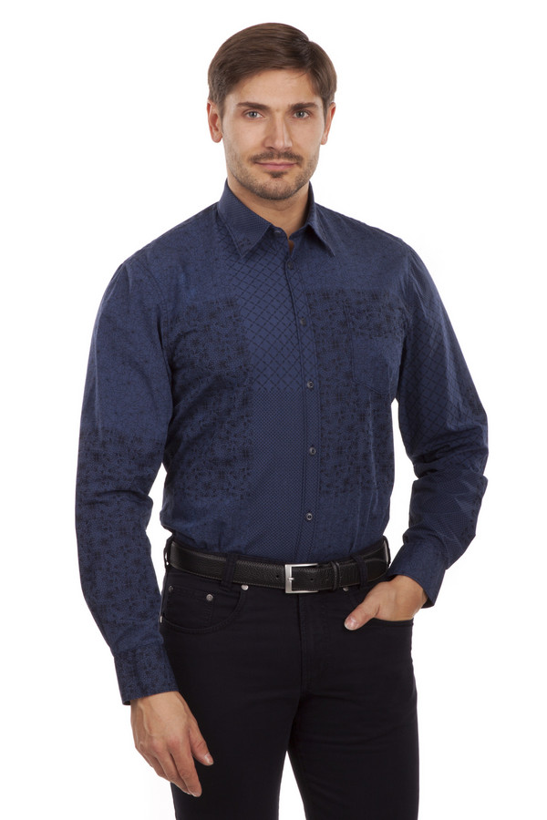 Рубашка с длинным рукавом LerrosДлинный рукав<br>Модная рубашка из натурального хлопка глубокого синего цвета. Украшена оригинальным геометрическим принтом как спереди, так и на спинке. Отложной воротник, длинные рукава. Застегивается рубашка на пуговицы. Отлично будет смотреться как с  классическими брюками , так и с  джинсами . Прекрасно подойдет как на каждый день на работу, так и на вечеринки с друзьями.<br><br>Размер RU: 39-40<br>Пол: Мужской<br>Возраст: Взрослый<br>Материал: хлопок 100%<br>Цвет: Синий