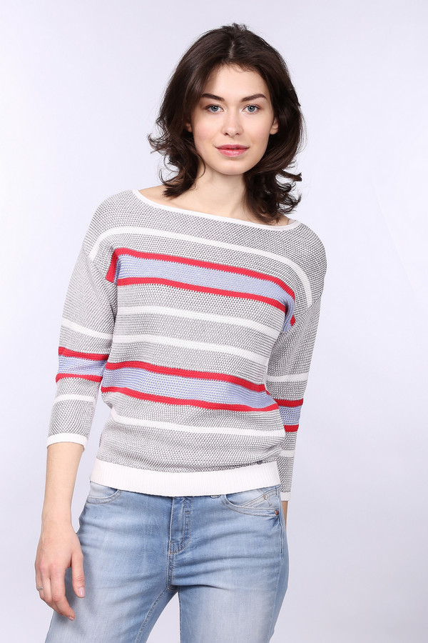 Пуловер TaifunПуловеры<br><br><br>Размер RU: 44<br>Пол: Женский<br>Возраст: Взрослый<br>Материал: хлопок 58%, полиамид 2%, вискоза 40%<br>Цвет: Разноцветный