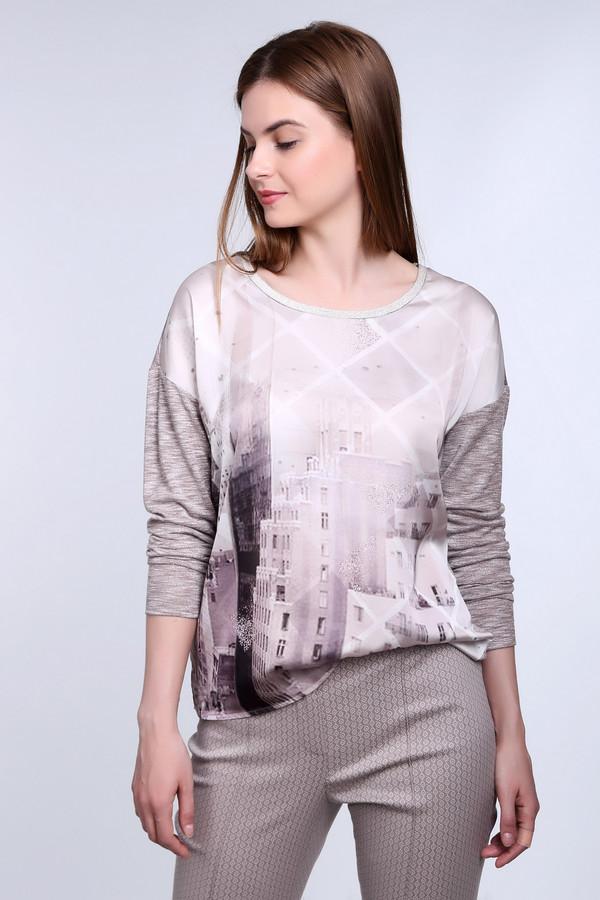 Пуловер TaifunПуловеры<br>Серо-бежевый пуловер от фирмы Taifun свободного кроя. Изделие дополнено круглым вырезом и длинными рукавами с заниженной линией плеча. Спереди пуловер оформлен урбанистическим принтом в нежно розовых оттенках, спинка выполнена из однотонной ткани.<br><br>Размер RU: 46<br>Пол: Женский<br>Возраст: Взрослый<br>Материал: вискоза 66%, полиэстер 34%<br>Цвет: Разноцветный