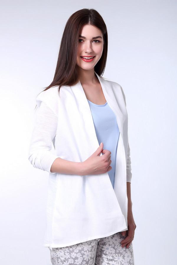 Жакет OuiЖакеты<br>Жакет женский белого цвета фирмы Oui. Модель выполнена прямым фасоном. Изделие дополнено воротом шалька, разрезом с запахом, втачными , длинными рукавами. Ткань состоит из 70% хлопка, 30% полиамида. Сочетать можно с различными брюками.