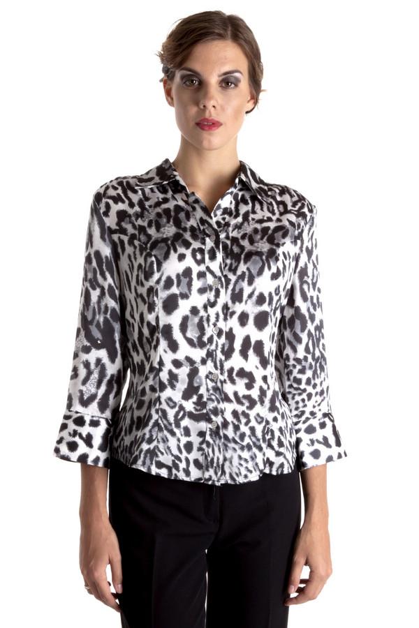 Блузa PezzoБлузы<br>Стильная блуза Pezzo приталенного кроя c хищным принтом. Блуза дополнено: отложным воротником, рукавом 3/4 и манжетами с пуговицами. Центральная часть изделия застегивается на пуговицы. Гармонично подходит к  юбкам  и  брюкам .<br><br>Размер RU: 52<br>Пол: Женский<br>Возраст: Взрослый<br>Материал: полиэстер 100%<br>Цвет: Разноцветный