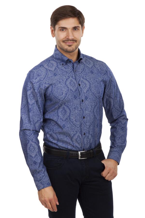Рубашка с длинным рукавом VentiДлинный рукав<br>Темно-синяя рубашка от бренда Venti выполнена из натурального хлопка. Изделие дополнено: отложным воротником-стойкой, планкой на пуговицах и длинными рукавами. Манжеты застегиваются на несколько пуговиц. Рубашка украшена узором «турецкий огурец». Хорошо смотреться, как с  джинсами , так и с  классическими брюками .   slim fit<br><br>Размер RU: 41<br>Пол: Мужской<br>Возраст: Взрослый<br>Материал: хлопок 100%<br>Цвет: Синий