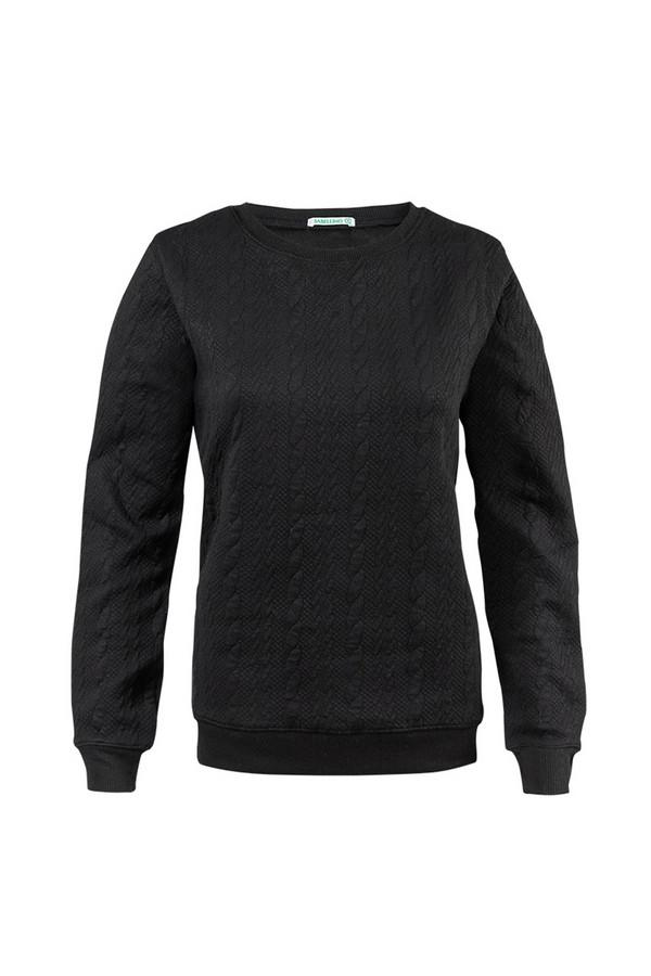 Пуловер SabellinoПуловеры<br><br><br>Размер RU: 46-48<br>Пол: Женский<br>Возраст: Взрослый<br>Материал: полиэстер 52%, хлопок 46%, спандекс 2%<br>Цвет: Чёрный