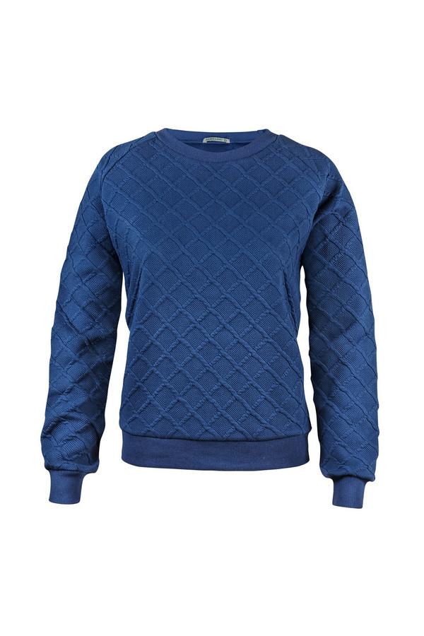 Пуловер SabellinoПуловеры<br><br><br>Размер RU: 46-48<br>Пол: Женский<br>Возраст: Взрослый<br>Материал: полиэстер 52%, хлопок 46%, спандекс 2%<br>Цвет: Синий