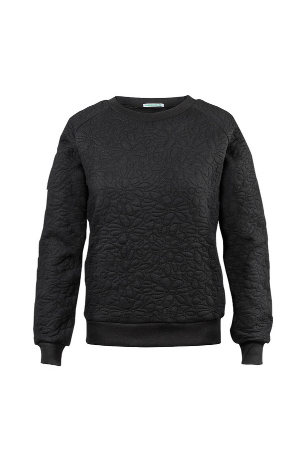 Пуловер SabellinoПуловеры<br><br><br>Размер RU: 44-46<br>Пол: Женский<br>Возраст: Взрослый<br>Материал: полиэстер 50%, хлопок 48%, спандекс 2%<br>Цвет: Чёрный