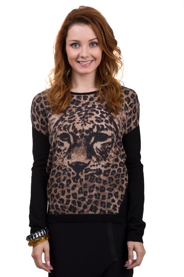 Пуловер GardeurПуловеры<br>Модный пуловер от бренда Gardeur свободного кроя имеет актуальную в этом сезоне расцветку с леопардовым принтом. Изделие дополнено: круглым вырезом, удлинённой спинкой и рукавами-летучая мышь.<br><br>Размер RU: 42<br>Пол: Женский<br>Возраст: Взрослый<br>Материал: вискоза 35%, нейлон 20%, шерсть 37%, кашемир 8%<br>Цвет: Чёрный