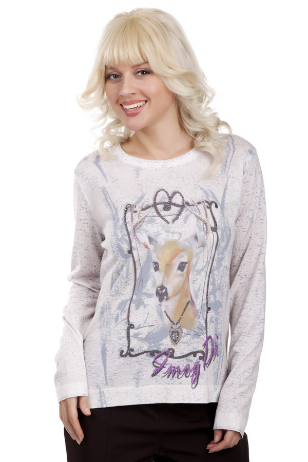 Пуловер OuiПуловеры<br>Пуловер Oui выполнен в романтическом стиле и идеально подойдет для использования ккруглый год. Основным цветом выступавет белый. На передней части пуловера светло-голубые разводы и рисунок лани с кулоном на шее. Одежда украшена стразами, которые надежно закреплены. Благодаря сочетанию полиэстра и вискозы, пуловер будет долго сохранять тепло. Данная вещь подходит для постоянного использования весной и осенью.<br><br>Размер RU: 50<br>Пол: Женский<br>Возраст: Взрослый<br>Материал: полиэстер 65%, вискоза 35%<br>Цвет: Белый