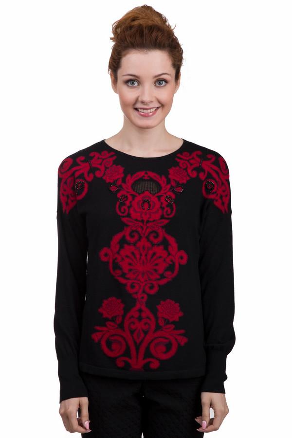 Пуловер Betty BarclayПуловеры<br>Женский черный пуловер Betty Barclay прилегающего кроя с оригинальным стильным вязанным красным рисунком. Изделие дополнено: круглым вырезом и длинными рукавами. Пуловер без труда согреет в холодную погоду.<br><br>Размер RU: 46<br>Пол: Женский<br>Возраст: Взрослый<br>Материал: полиамид 25%, шерсть 25%, полиэстер 46%, кашемир 1%, альпака 3%<br>Цвет: Красный