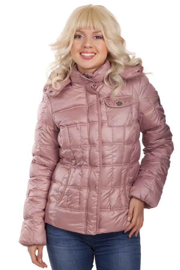 Куртка LerrosКуртки<br>Женская куртка Lerros пудрового нежно-розового цвета модного кроя. Изделие с отстегивающимся капюшоном, центральная часть застегивается на молнию и ветрозащитный клапан на кнопках, два боковых кармана и один накладной карман с застежкой-кнопка.  В качестве утеплителя использована 100% ватная подкладка.<br><br>Размер RU: 40<br>Пол: Женский<br>Возраст: Взрослый<br>Материал: полиамид 100%<br>Цвет: Розовый