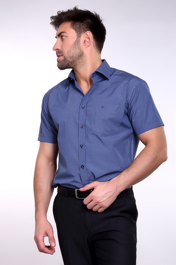 Рубашка BAZIONIРубашки и сорочки<br><br><br>Размер RU: 41/176-182<br>Пол: Мужской<br>Возраст: Взрослый<br>Материал: полиэстер 20%, хлопок 80%<br>Цвет: Синий
