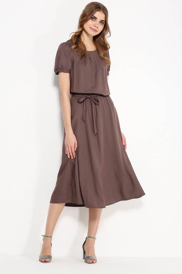 Платье FINN FLAREПлатья<br>Достаточно ли в вашем летнем гардеробе женственных и лёгких платьев? Представляем вам отличную модель, созданную для романтичных натур. Платье красивого коричневого цвета, выполненное в мелкий цветочный принт, с рукавами-колокольчиками и поясом для более приталенного силуэта украсит любую женщину. Выполнена модель из приятной на ощупь вискозы.<br><br>Размер RU: 58<br>Пол: Женский<br>Возраст: Взрослый<br>Материал: вискоза 100%<br>Цвет: Коричневый