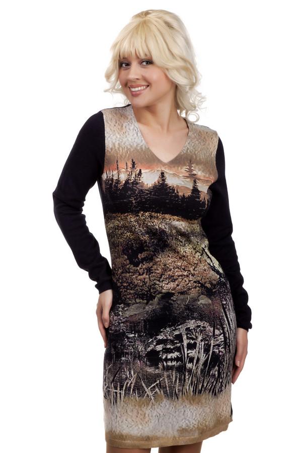 Платье LerrosПлатья<br>Оригинальное платье с длинными рукавами и длиной до колена. Спинка и рукава черные, спереди по всей длине необычный принт в коричневых тонах. Платье выполнено из натурального хлопка, очень приятно к телу и подойдет на любой сезон. Платье украшает V-образный неглубокий вырез. Приталенная модель подчеркнет женственность и скроет изъяны тела.<br><br>Размер RU: 48<br>Пол: Женский<br>Возраст: Взрослый<br>Материал: хлопок 100%<br>Цвет: Разноцветный