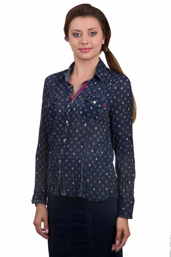 Рубашка с длинным рукавом SE StenauДлинный рукав<br>Женская полупрозрачная рубашка от фирмы SE Stenau. Данная рубашка представлена в темно-синем цвете, с абстрактным рябым принтом. Материал, из которого пошито данное изделие — 100% полиэстер. У этой модели длинный рукав, отложной воротник, а также два нагрудных накладных кармана на пуговицах.<br><br>Размер RU: 42<br>Пол: Женский<br>Возраст: Взрослый<br>Материал: полиэстер 100%<br>Цвет: Разноцветный