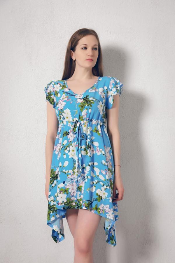 Платье MARUSЯПлатья<br><br><br>Размер RU: 48/50<br>Пол: Женский<br>Возраст: Взрослый<br>Материал: вискоза 100%<br>Цвет: Голубой