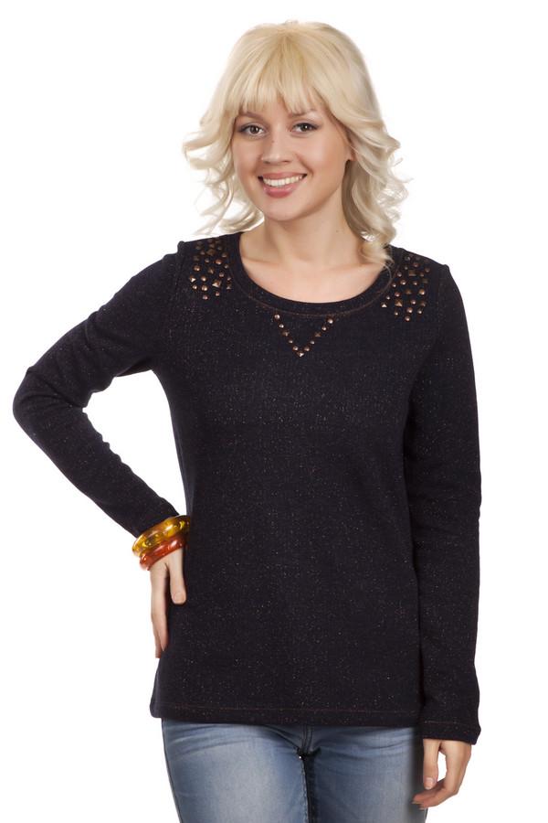 Пуловер TaifunПуловеры<br>Пуловер Taifun черного цвета изготовленный из натурального хлопка. Верхняя часть пуловера в районе горловины украшена металлическими клипсами медного цвета. Все это выглядит изящно и дополняет ваш образ. Пуловер подойдет для походов на работу и ежедневного использования. В тандеме с пиджаком выглядит стильно и солидно.<br><br>Размер RU: 46<br>Пол: Женский<br>Возраст: Взрослый<br>Материал: металл 9%, хлопок 91%<br>Цвет: Чёрный