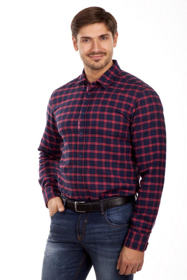Рубашка Boss OrangeРубашки и сорочки<br>Клетчатая красно-синяя рубашка Boss Orange приталенного кроя. Изделие дополнено: классическим отложным воротником, длинными рукавами и манжетами на пуговицах. Центральная часть застегивается на пуговицы. Планка и рукава декорированы стильной оторочкой с геометрическим принтом и черепами.<br><br>Размер RU: 46<br>Пол: Мужской<br>Возраст: Взрослый<br>Материал: хлопок 70%, луоселл 30%<br>Цвет: Разноцветный