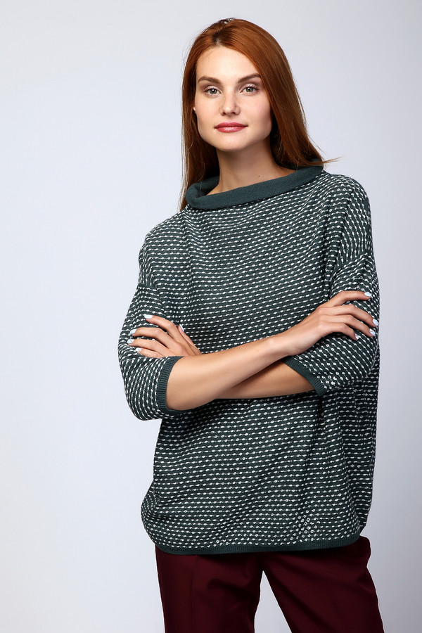 Пуловер PezzoПуловеры<br><br><br>Размер RU: 50<br>Пол: Женский<br>Возраст: Взрослый<br>Материал: шерсть 41%, хлопок 18%, полиакрил 41%<br>Цвет: Зелёный