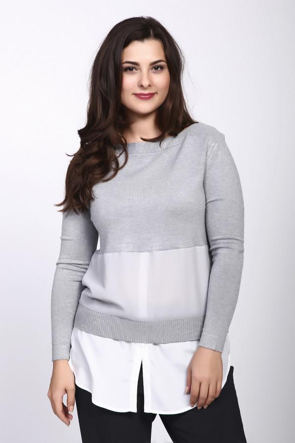 Пуловер PezzoПуловеры<br><br><br>Размер RU: 48<br>Пол: Женский<br>Возраст: Взрослый<br>Материал: вискоза 80%, нейлон 20%, Состав_отделка полиэстер 100%<br>Цвет: Серый