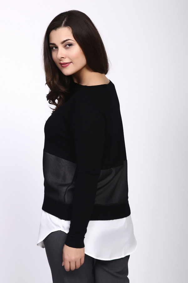 Пуловер PezzoПуловеры<br><br><br>Размер RU: 52<br>Пол: Женский<br>Возраст: Взрослый<br>Материал: вискоза 80%, нейлон 20%, Состав_отделка полиэстер 100%<br>Цвет: Чёрный