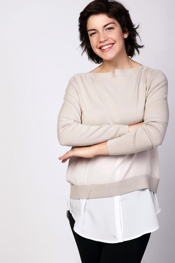 Пуловер PezzoПуловеры<br>Пуловер женский бежевого цвета фирмы Pezzo. Модель выполнена прямым фасоном. Изделие дополнено воротом  лодочка , втачными, длинными рукавами, баской. Ткань состоит из 80% вискозы, 20% нейлона. Отделка - 100% полиэстера. Комбинировать можно с различными брюками.