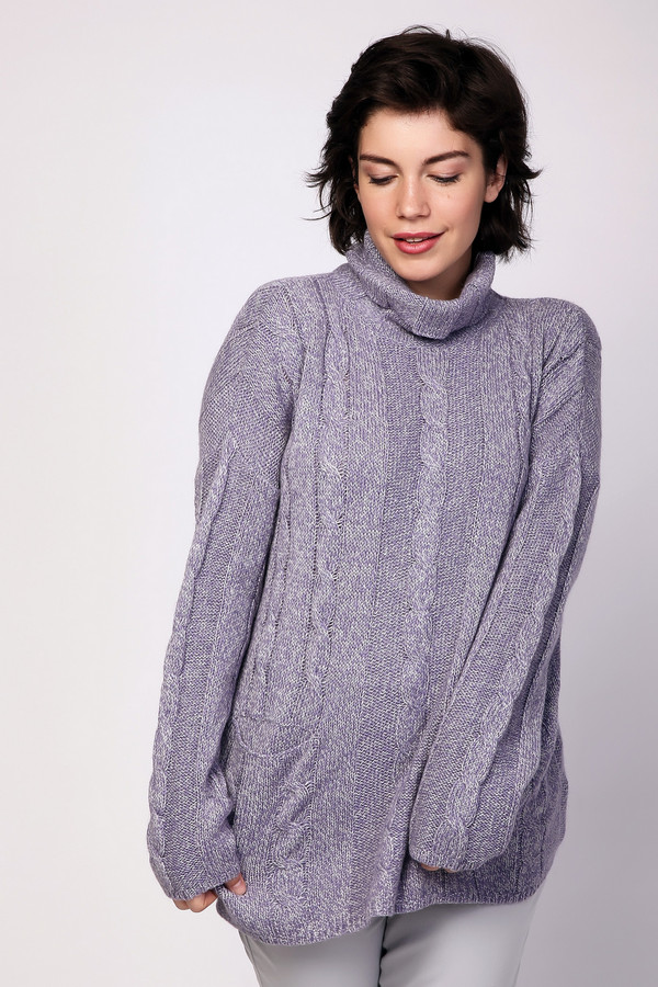 Пуловер PezzoПуловеры<br><br><br>Размер RU: 54<br>Пол: Женский<br>Возраст: Взрослый<br>Материал: акрил 44%, вискоза 26%, шерсть 18%, нейлон 12%<br>Цвет: Сиреневый